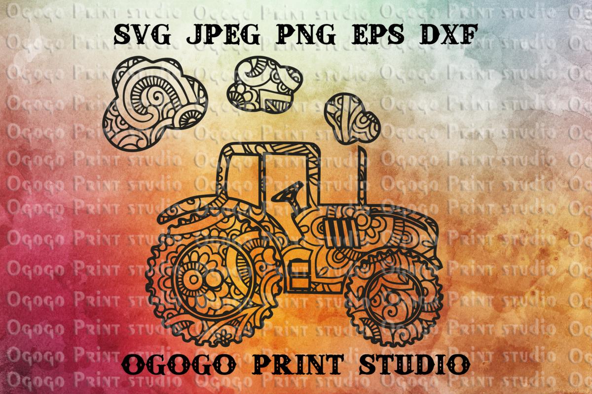 Tractor SVG, Mandala svg, Zentangle SVG, Boy svg, Farmer svg example image 1