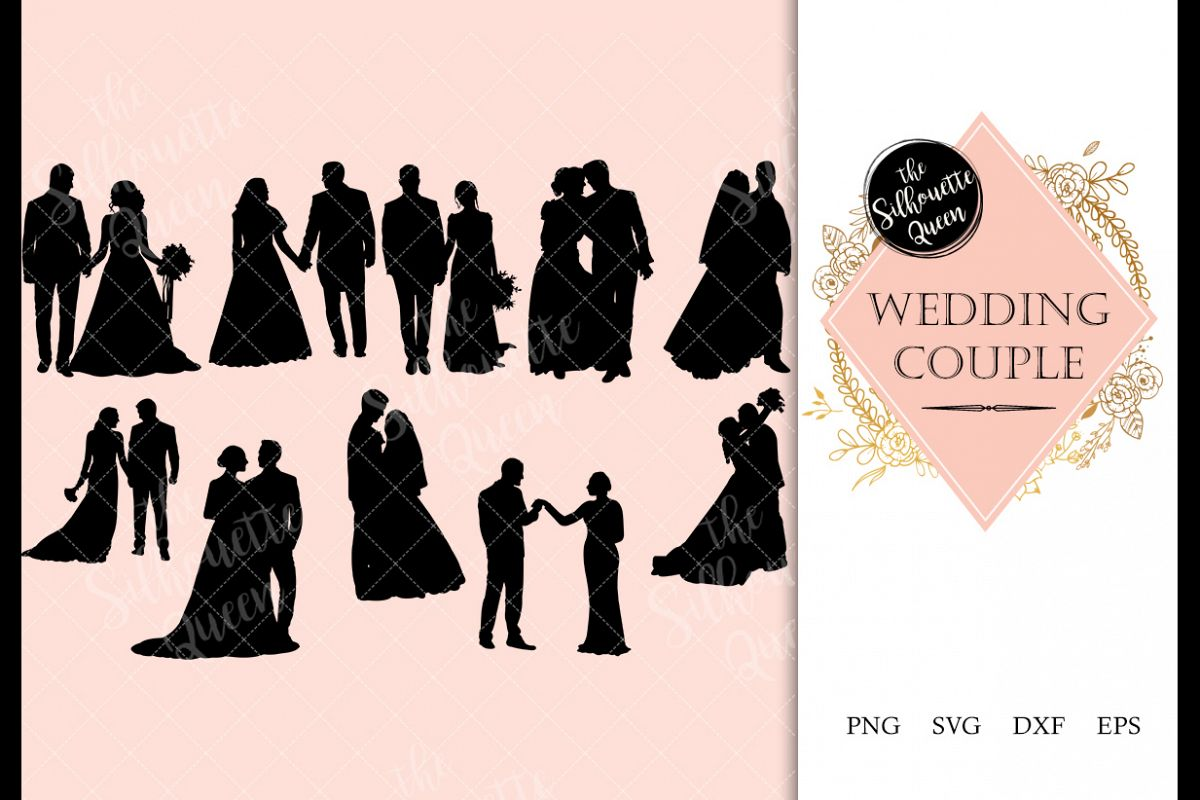 Wedding Couple Silhouette Vector svg file example image 1