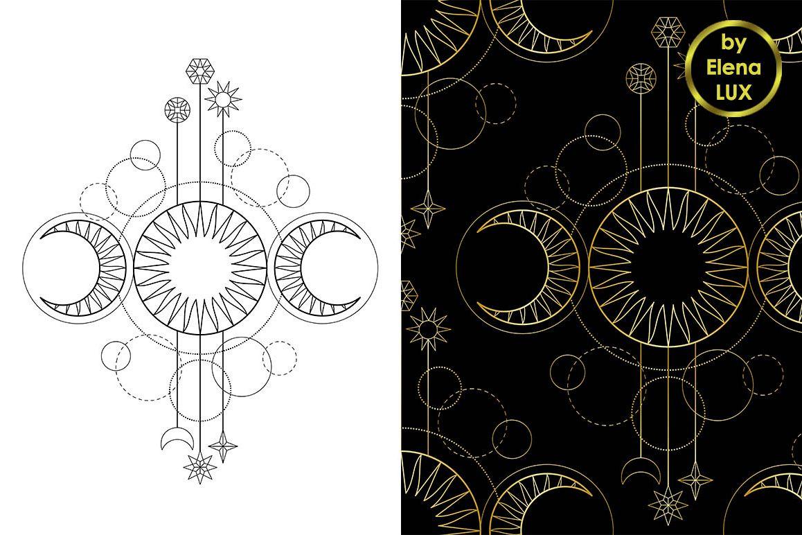 Triple Moon Tattoo Seamless Pattern Set