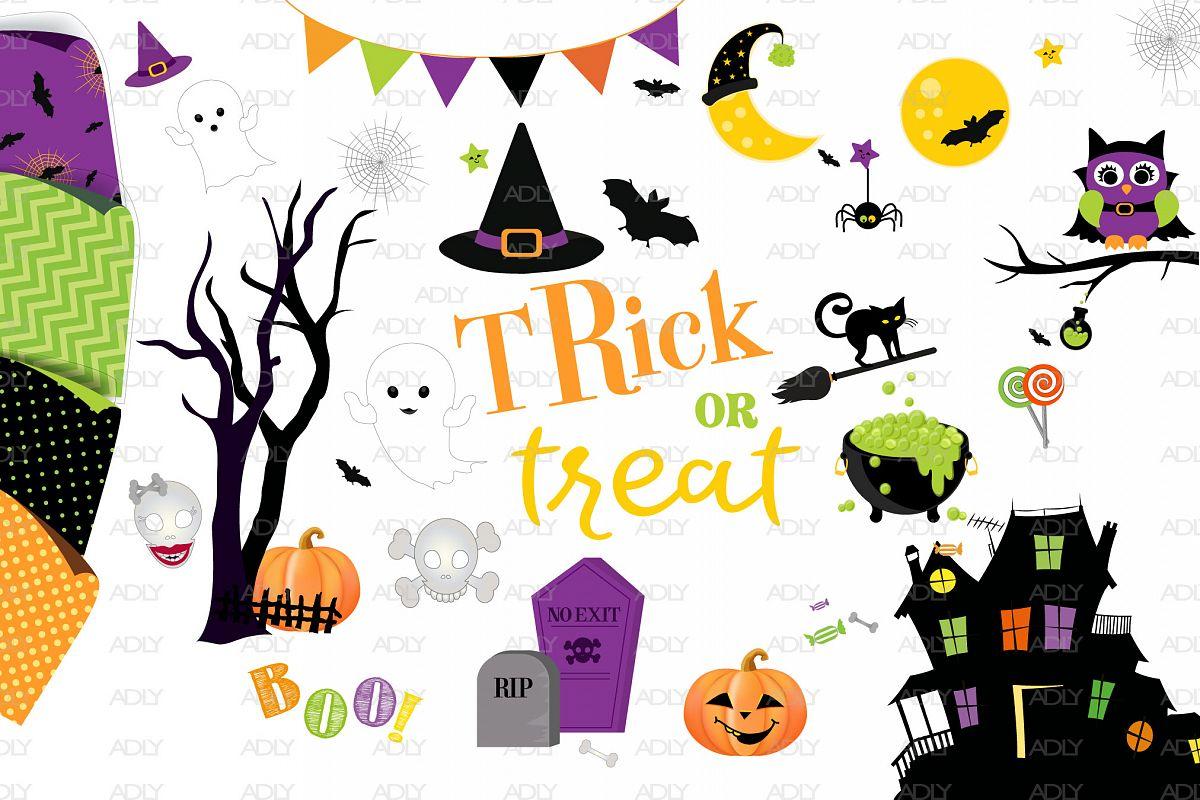 Halloween ClipArt Set, Halloween background Set-3 example image 1