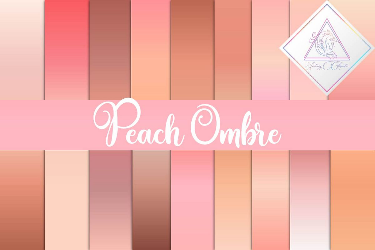 Peach Ombre Digital Paper example image 1