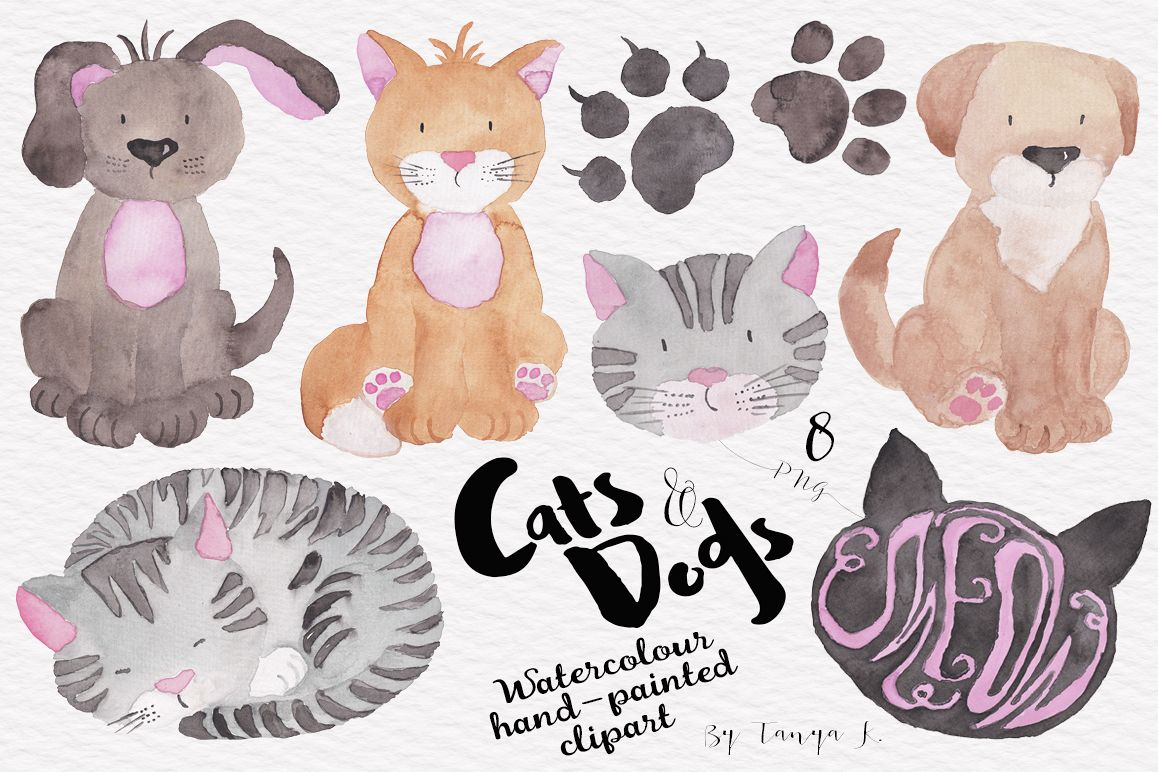 Cats and Dogs Watercolor Clipart example image 1