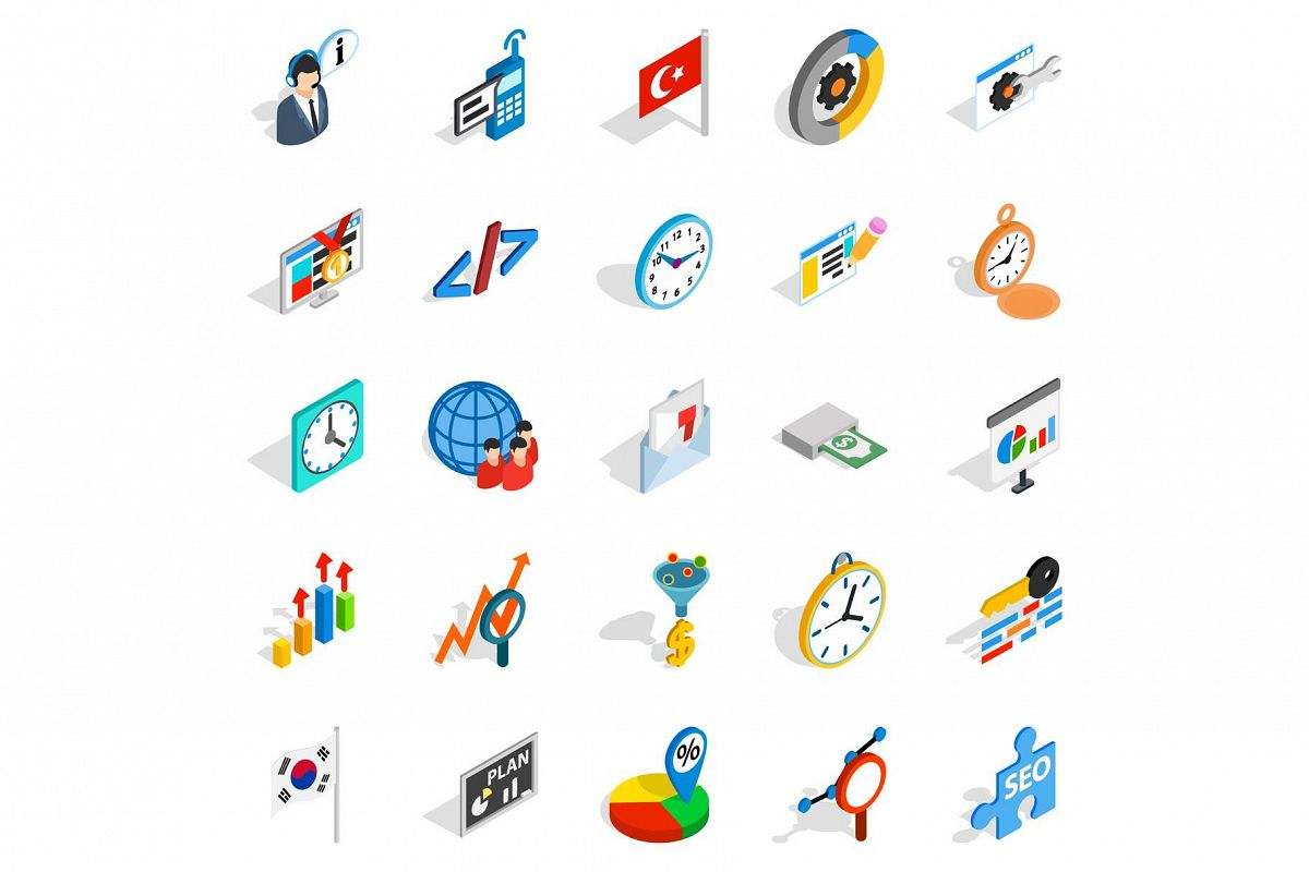Business plan icons set, isometric style example image 1