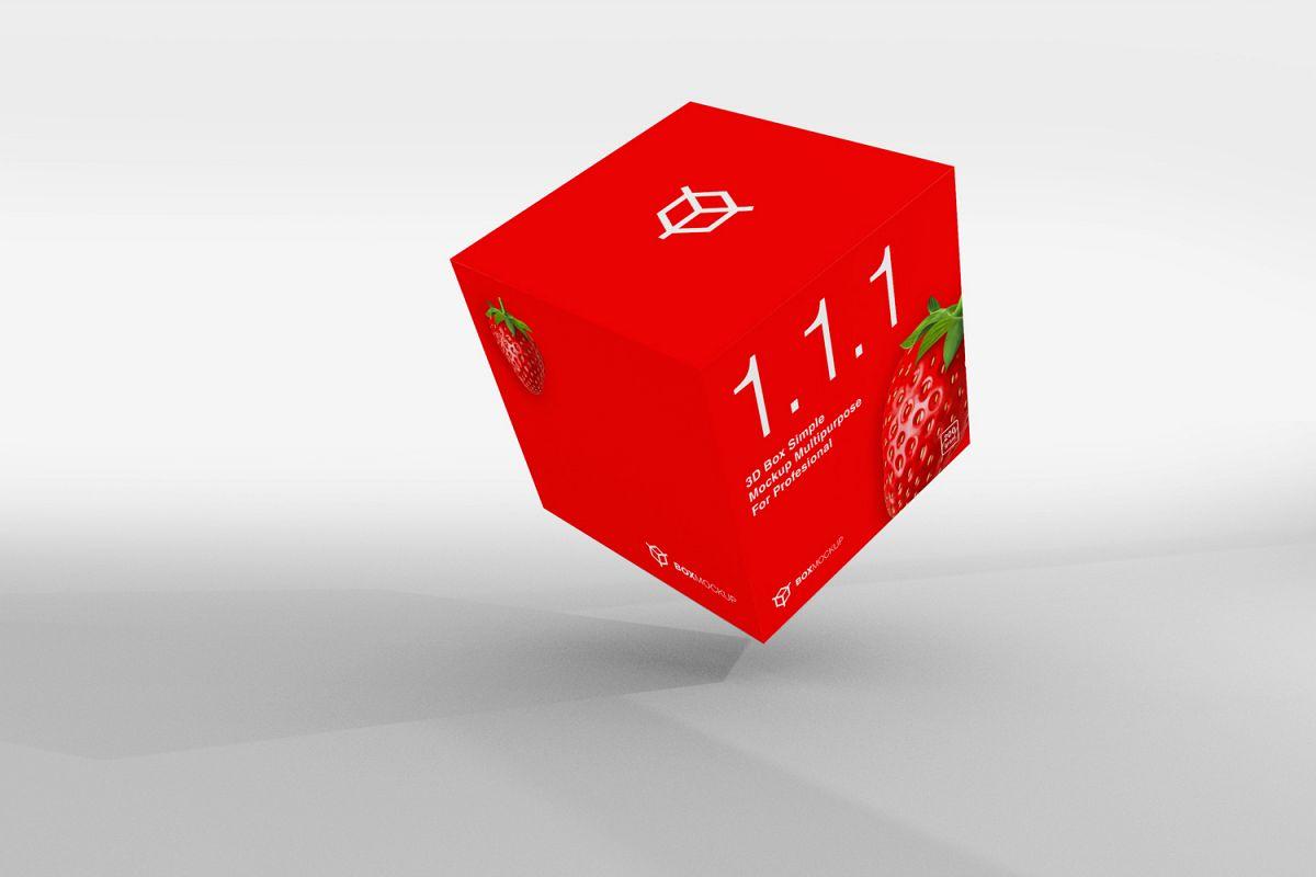 1 1 1 Simple 3D Box Mockup PSD
