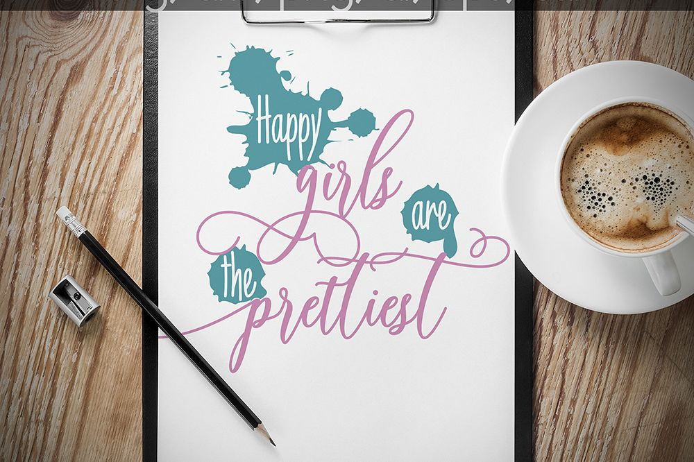 Happy Girls are the Prettiest SVG, Quote svg cut files, printable, SVG and DXF Cut File, Ai, Png, Dxf, Svg. example image 1