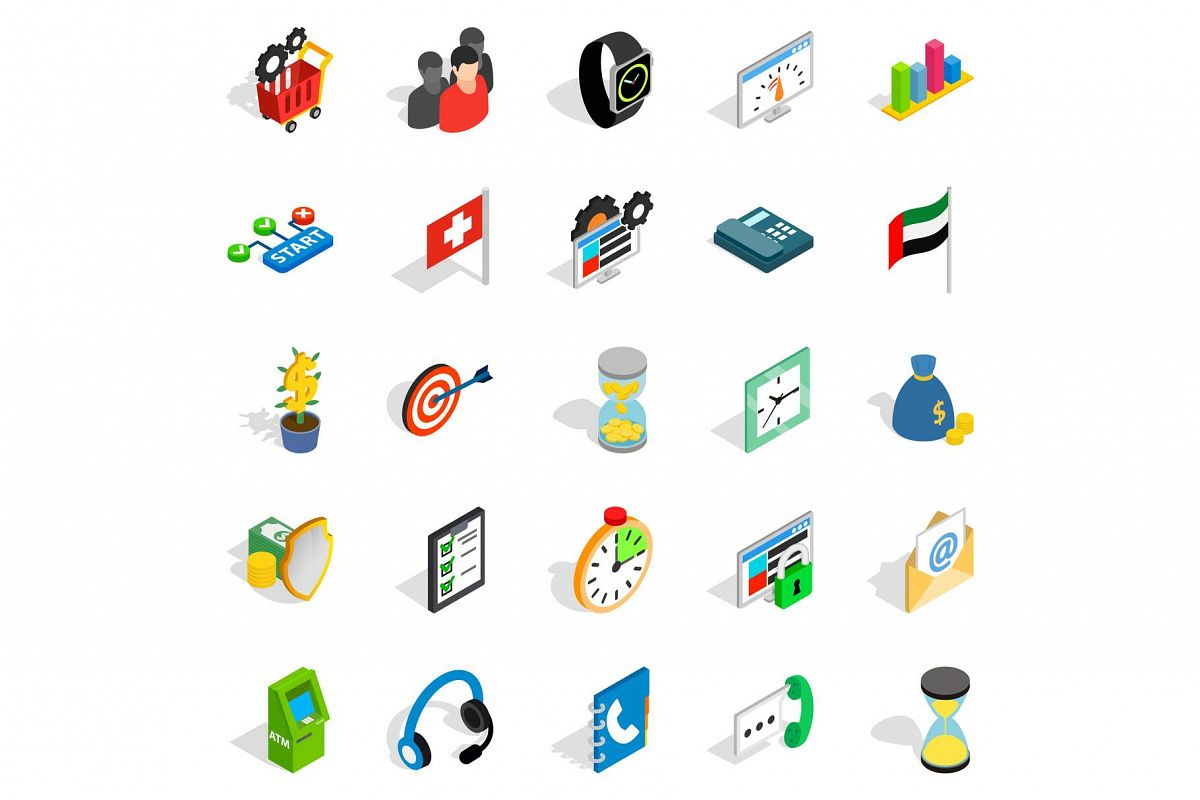 Strategy icons set, isometric style example image 1