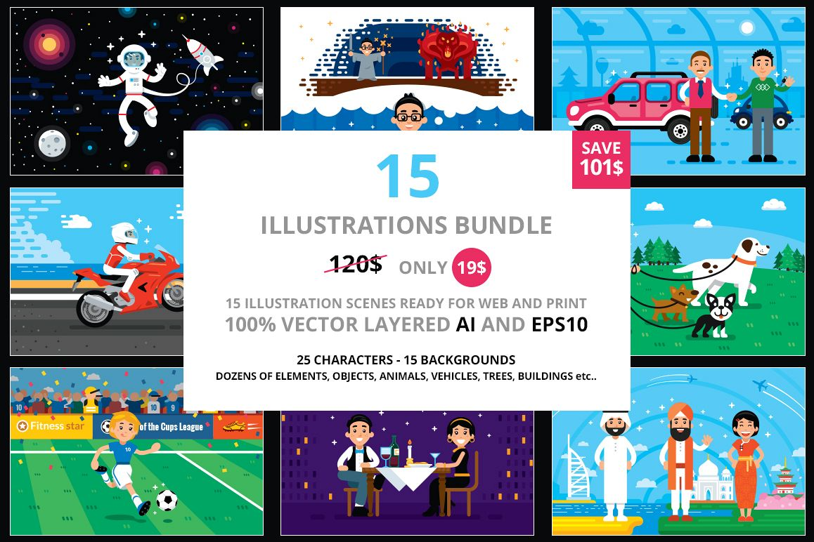 15 Illustrations Big Bundle example image 1