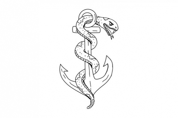 Rattlesnake Coiling on Anchor Drawing example image 1