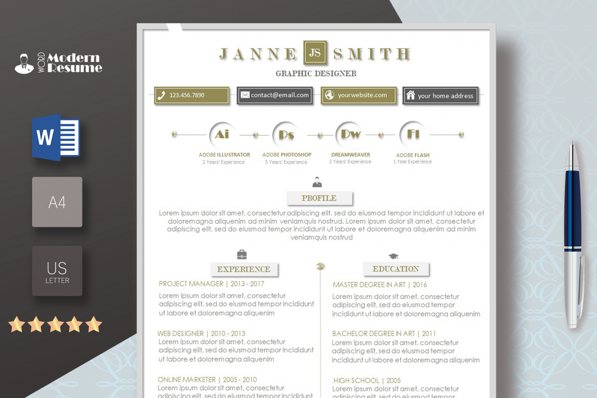 resume template   cover leter modern  instant download cv customizable