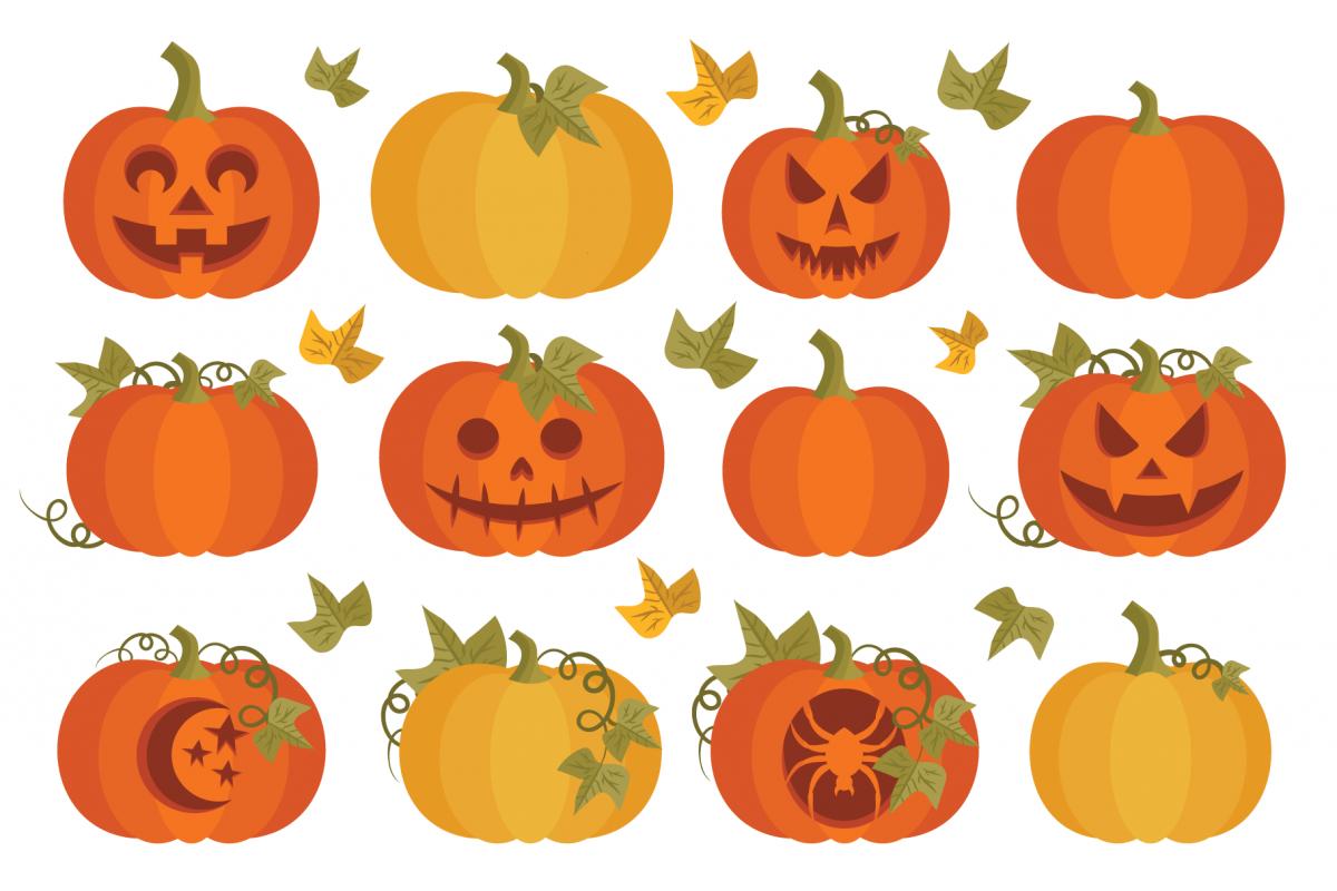 Fall Pumpkins Clip Art Set example image 1
