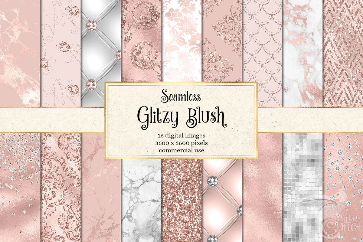Glitzy Blush Digital Paper example image 1