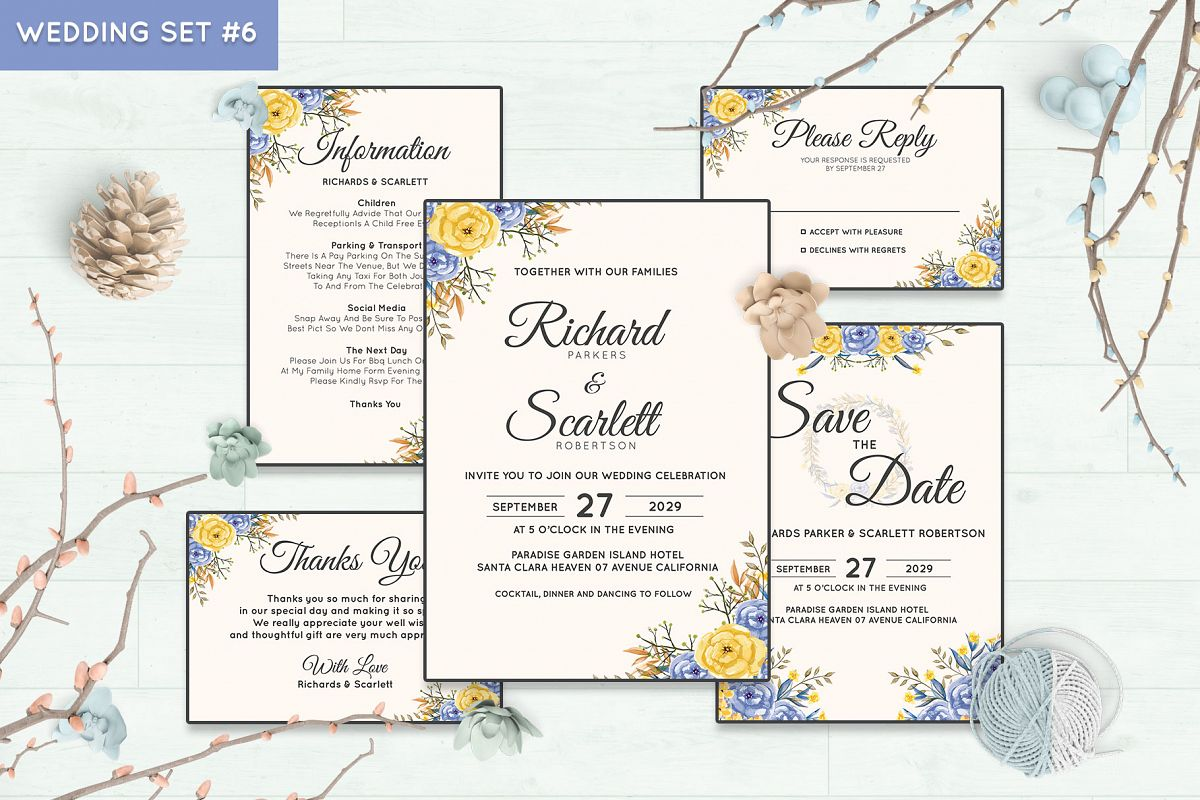 Wedding Invitation Set #6 Watercolor Floral Flower Style example image 1