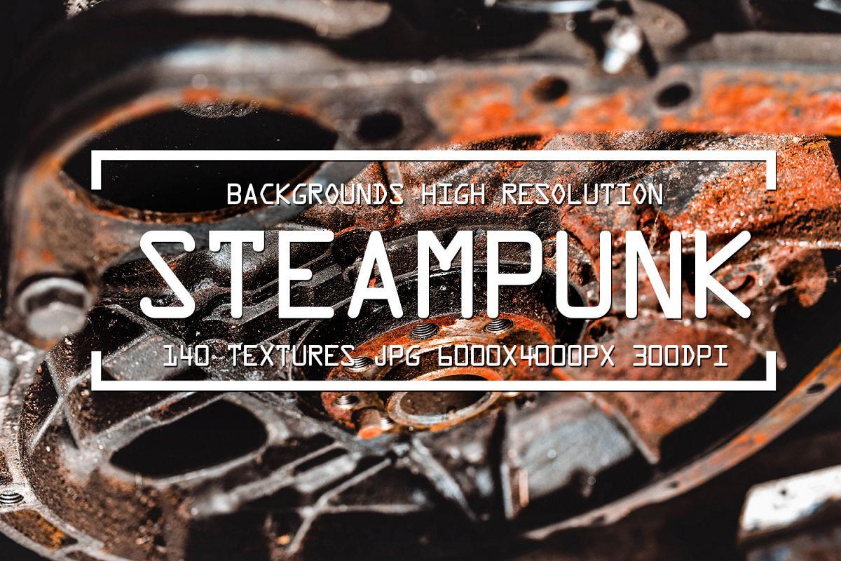 140 STEAMPUNK GRUNGE TEXTURES overlays background digital example image 1