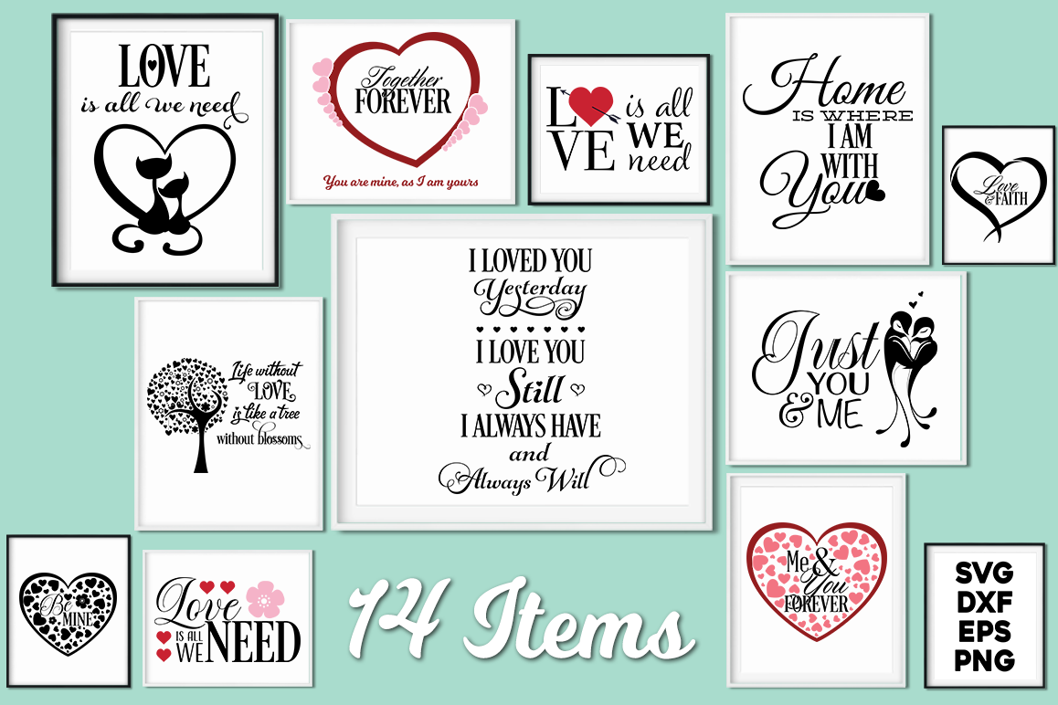 Love Quotes Bundle - Valentine SVG Cut Files example image 1