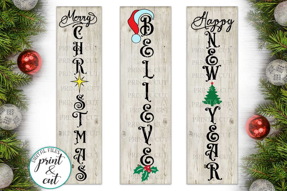 Merry Christmas Happy New Year Believe bundle vertical sign example image 1