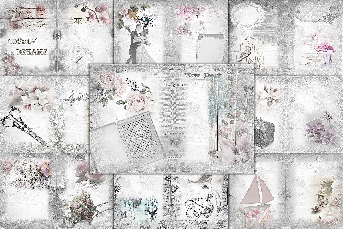 24 Printable Black and White Background Papers FREE Ephemera example image 1