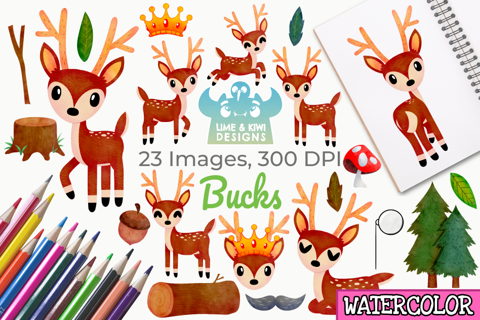 Bucks Watercolor Clipart, Instant Download Vector Art example image 1