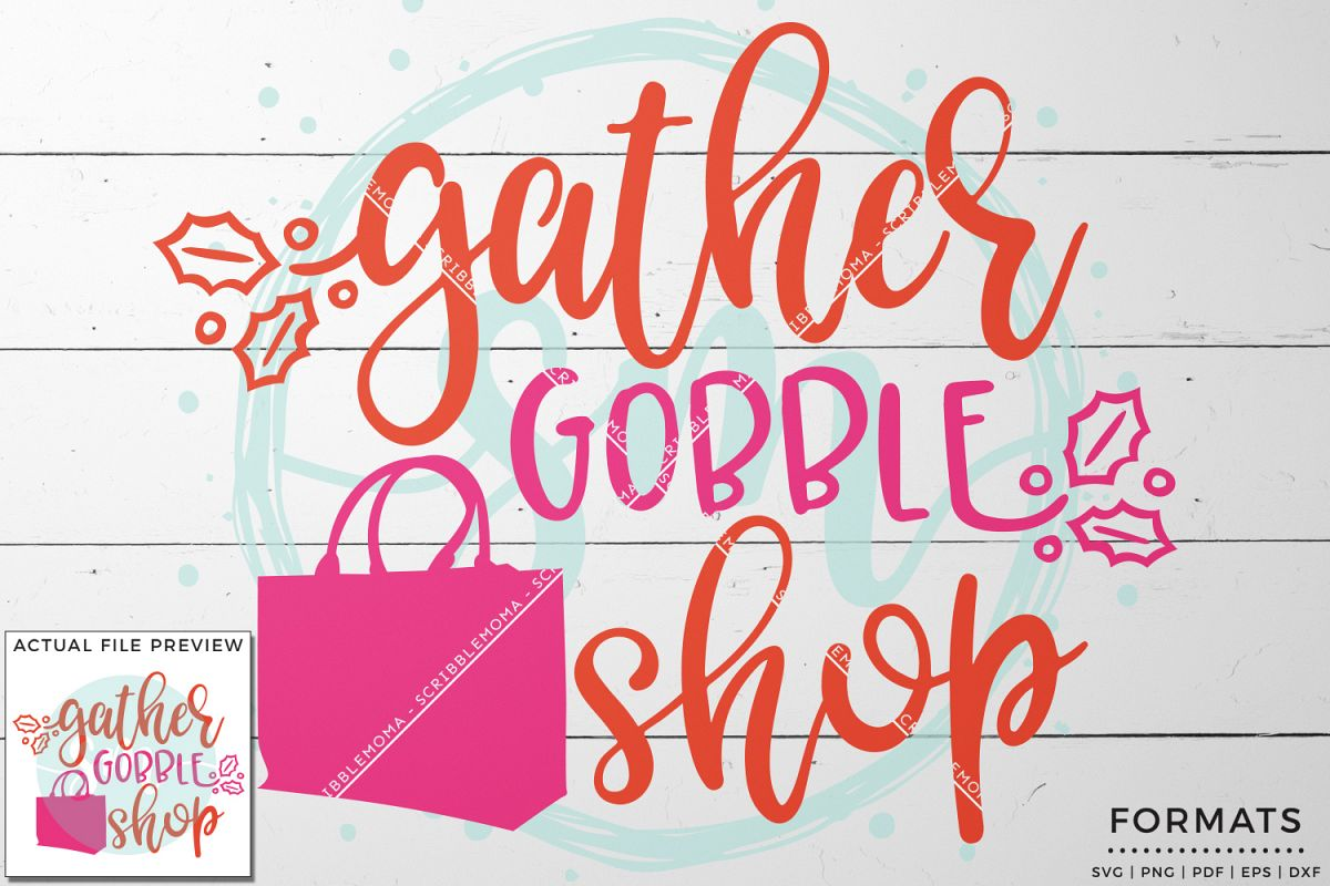 Gather Gobble Shop Black Friday SVG example image 1