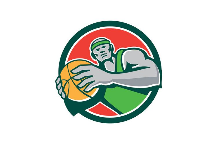 Basketball Player Holding Ball Circle Retro example image 1