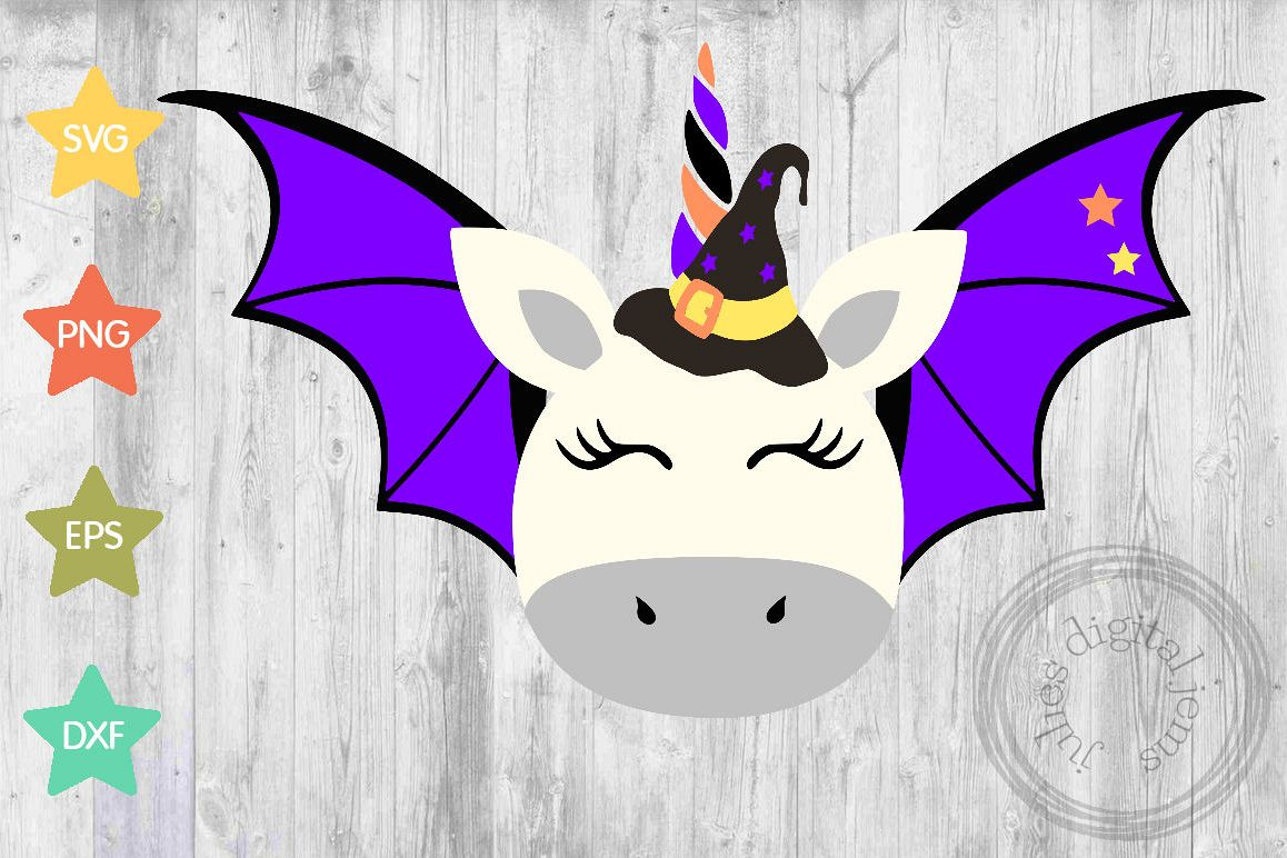 Unicorn Bat, witch, Halloween svg, by Julies digital jems example image 1