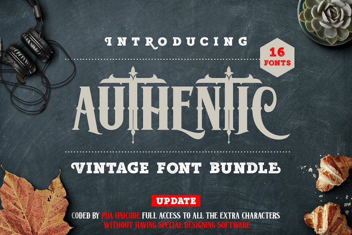 Authentic Vintage Font Bundle example image 1