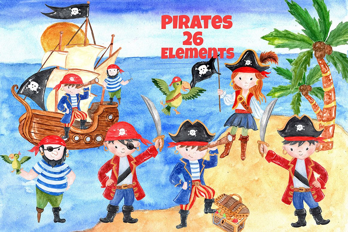 Pirate kids clipart example image 1