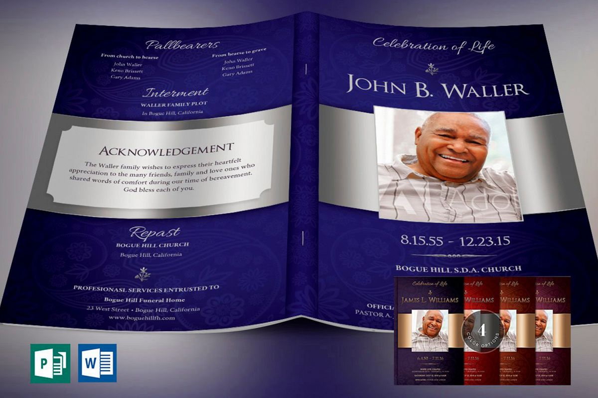 Dignity Funeral Program Template Bundle Publisher Word example image 1
