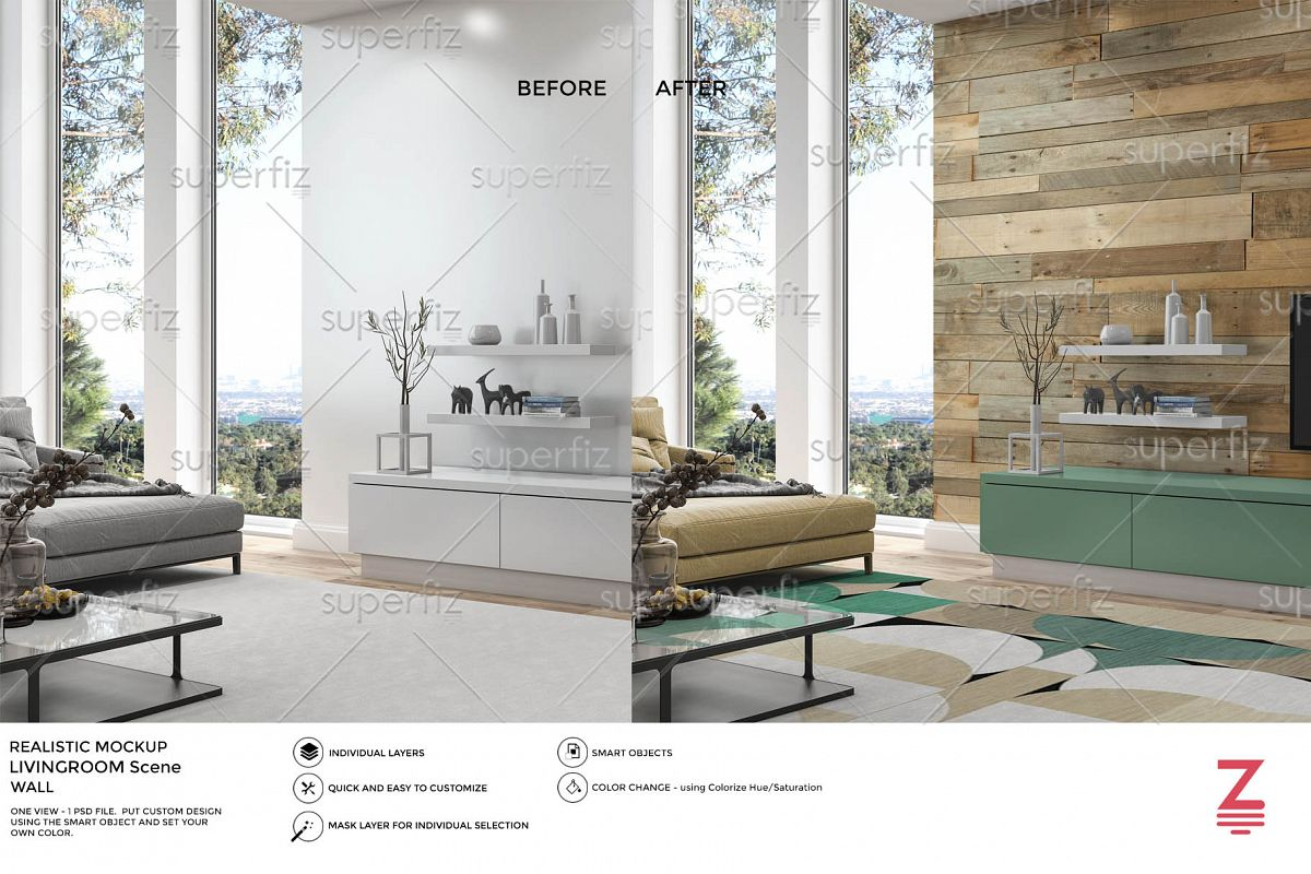 Interior PSD Mockup to change the WALL & CARPET surface SM49 example image 1