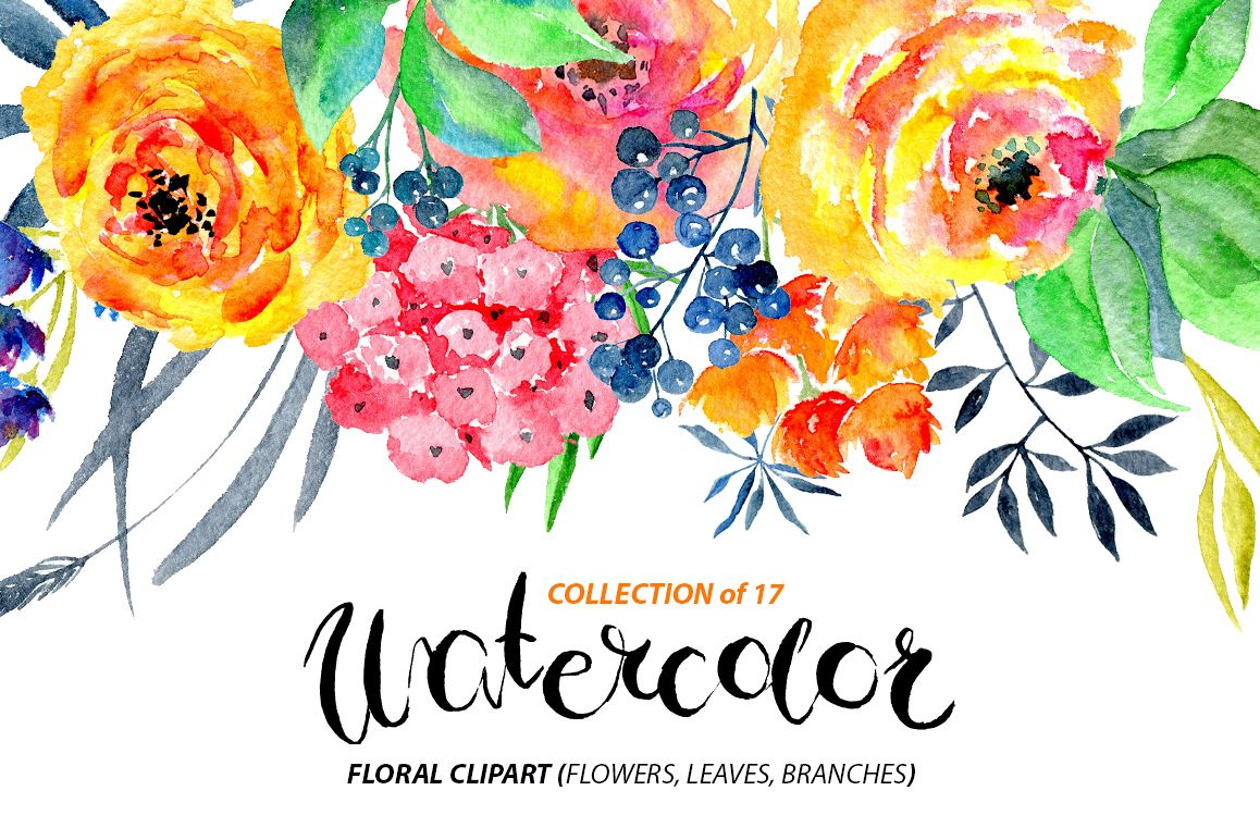 Watercolor flowers png clipart example image 1