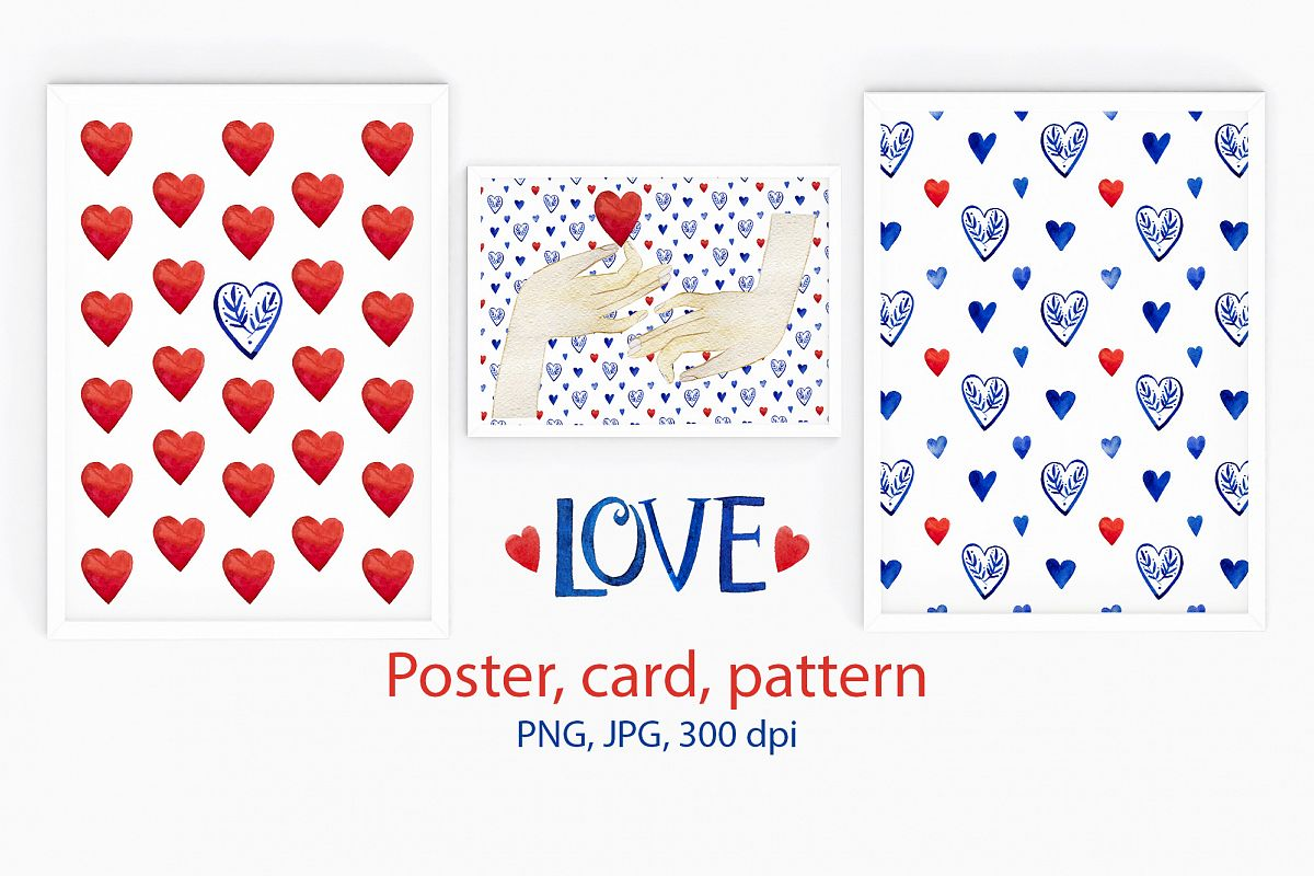 Valentine's pattern & card & poster. Love  example image 1