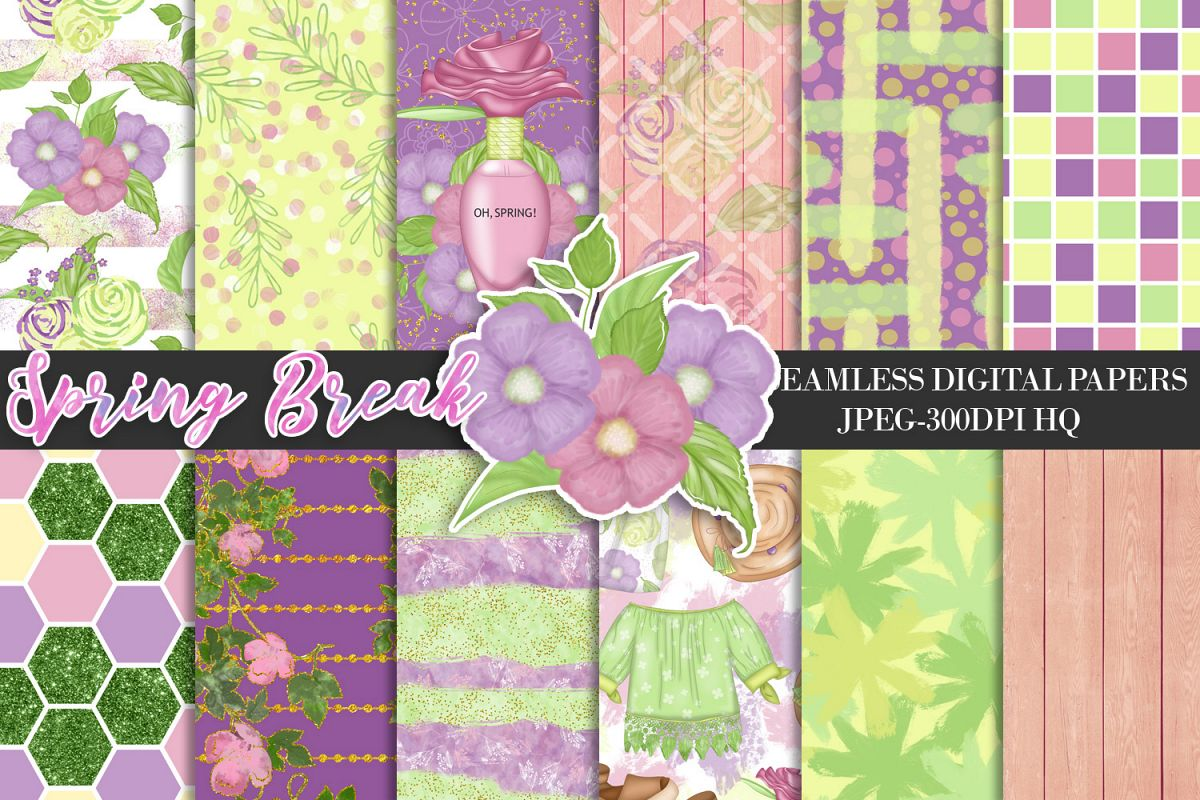 Spring Digital Papers, Spring Backgrounds, Garden Scrapbook example image 1