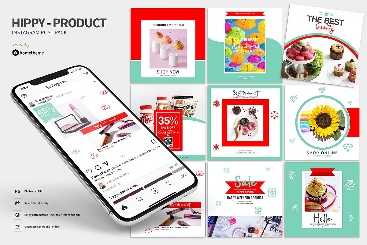 Hippy - Product Sale Instagram Post Pack HR example image 1