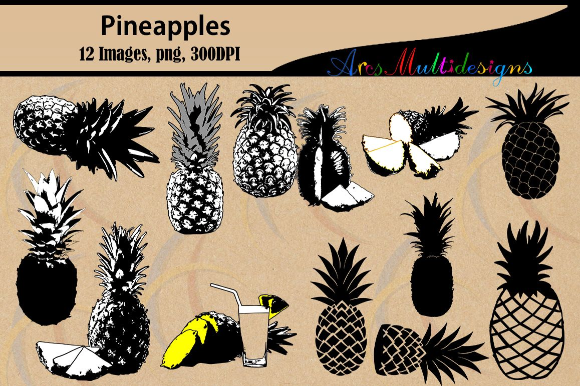 Pineapple silhouette svg / fruit silhouette / pineapple vector / fruit vector / pine apple svg file / SVG / png / High Quality scrapbooking example image 1
