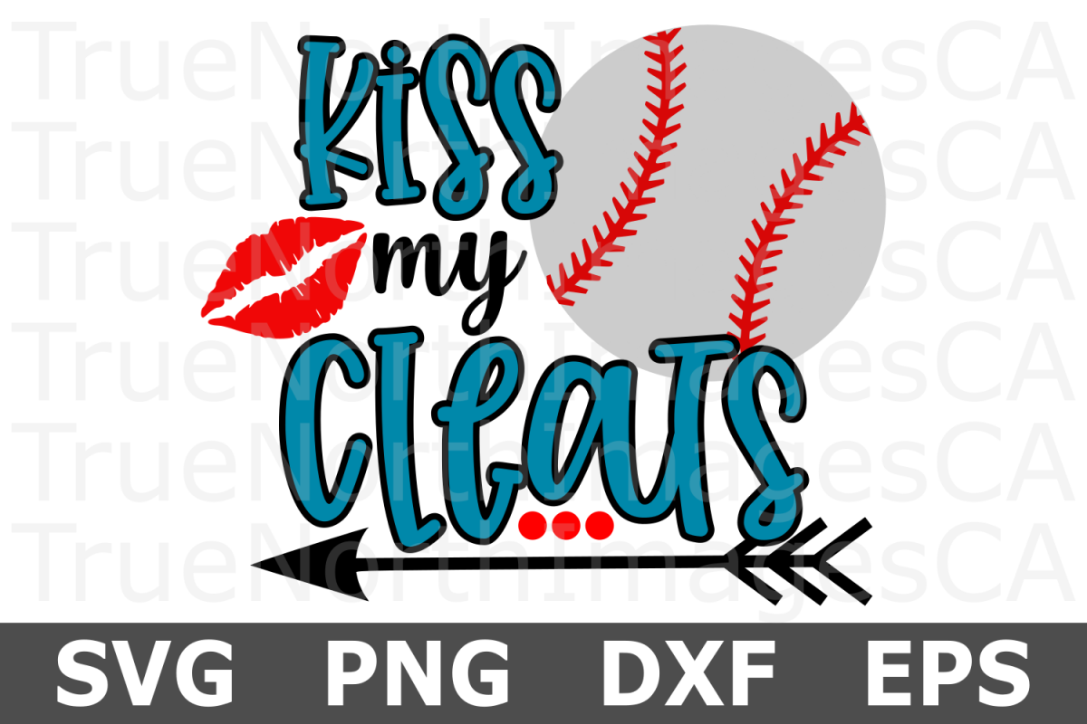 Kiss My Cleats Baseball - A Sports SVG Cut File example image 1