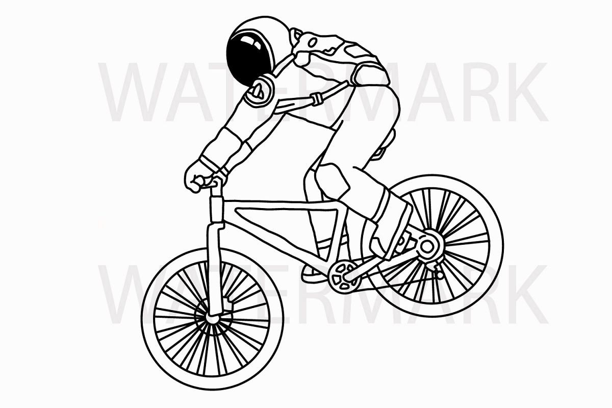 Astronaut on Mountain Bike Riding - with outline version - Color and Outline version - SVG/JPG/PNG Hand Drawing example image 1