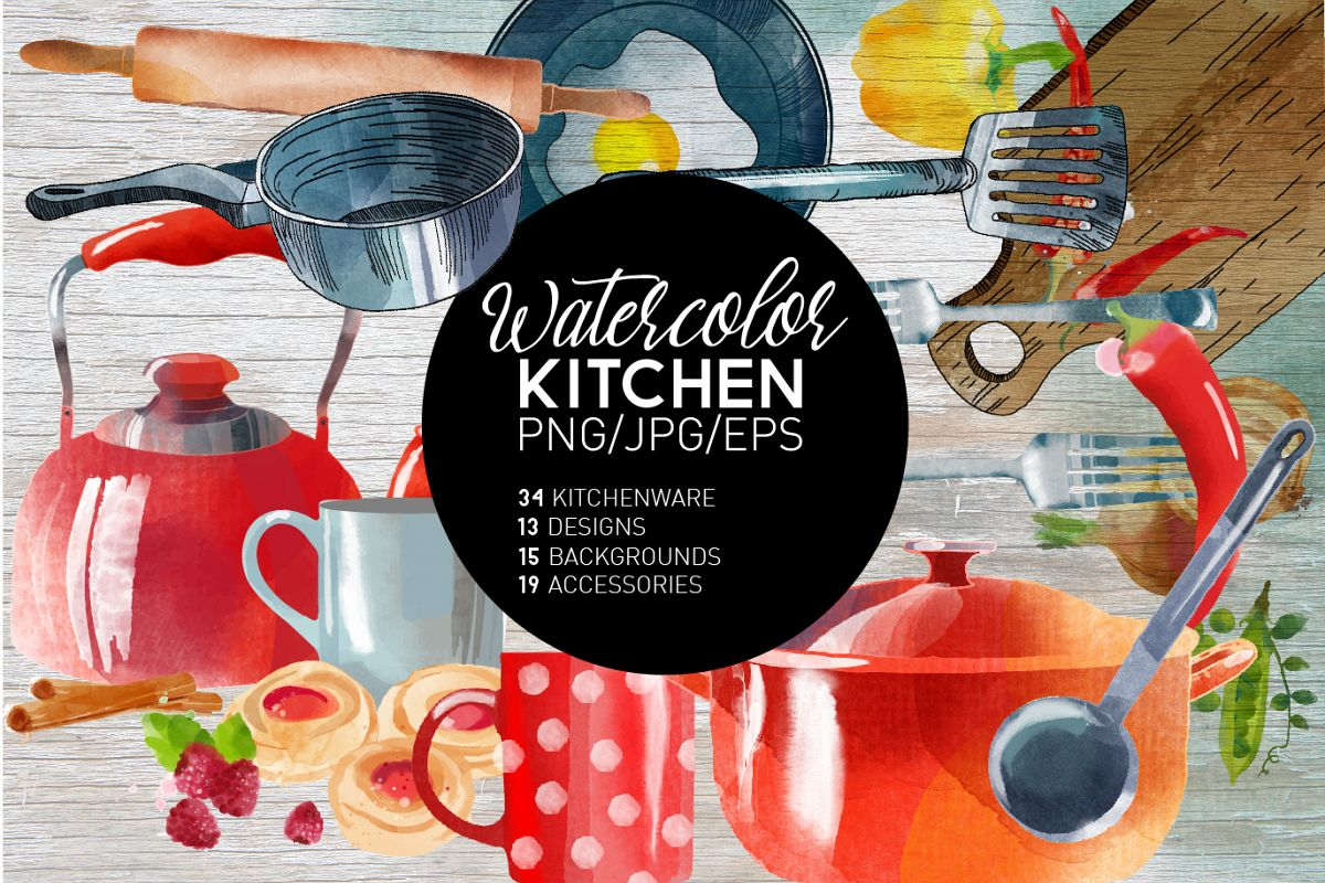 Watercolor kitchen example image 1