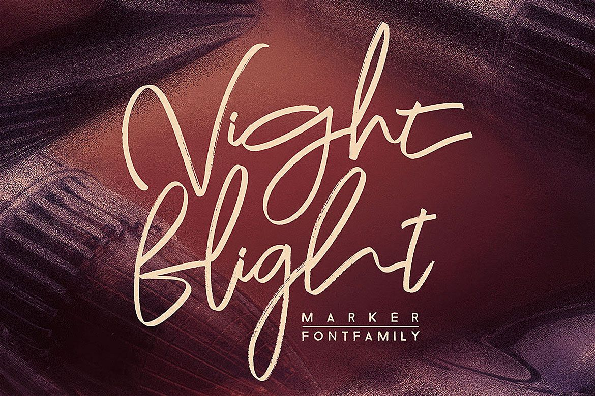 Night Flight Marker Brush Font example image 1