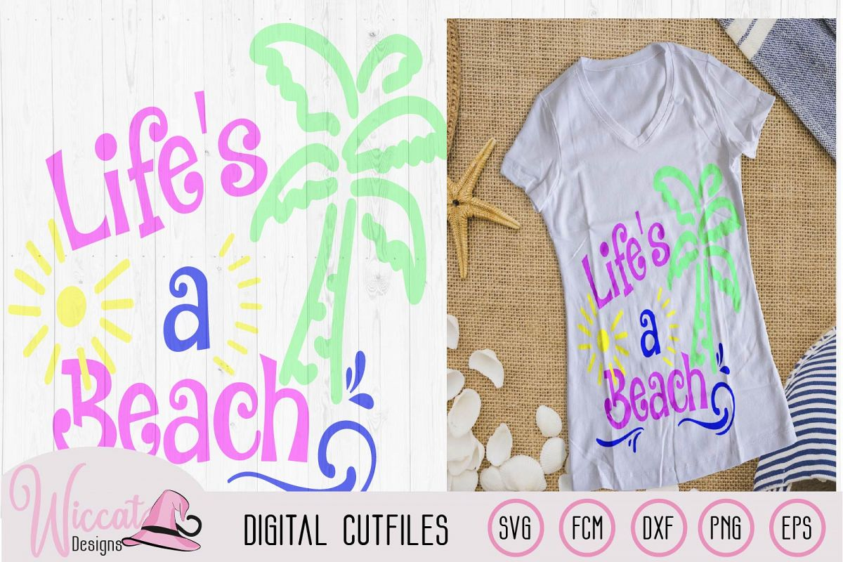 Life's a beach quote svg, palm trees, word art svg, example image 1