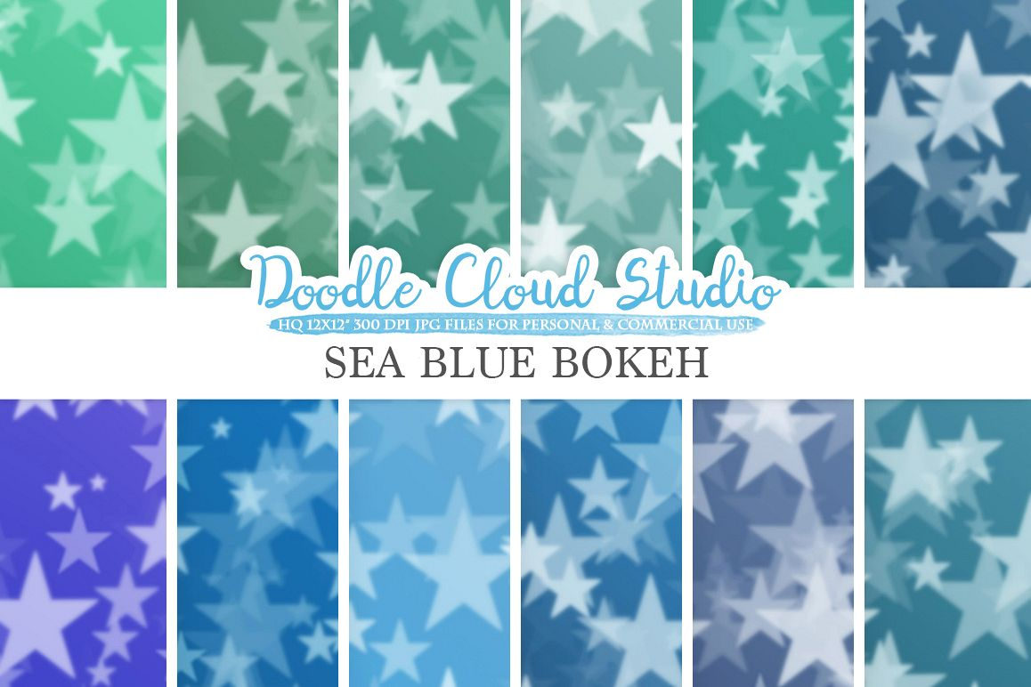 Sea Blue Stars Bokeh digital paper, Sea Blue colors Bokeh Overlay, Star Bokeh backgrounds, Instant Download, for Personal & Commercial Use example image 1