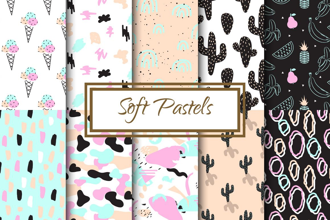 Soft Pastels Seamless Patterns example image 1