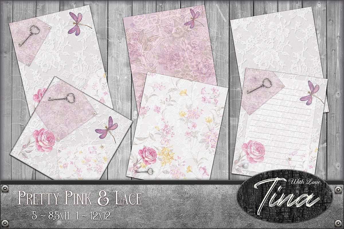 Pink Collage Butterflies Lace Roses 091618PC1 example image 1