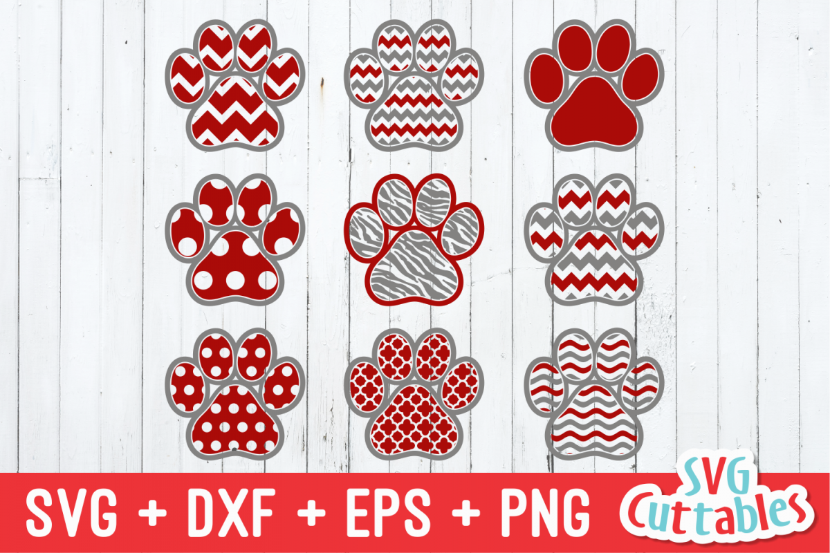Pattern Paw Print   SVG Cut File example image 1