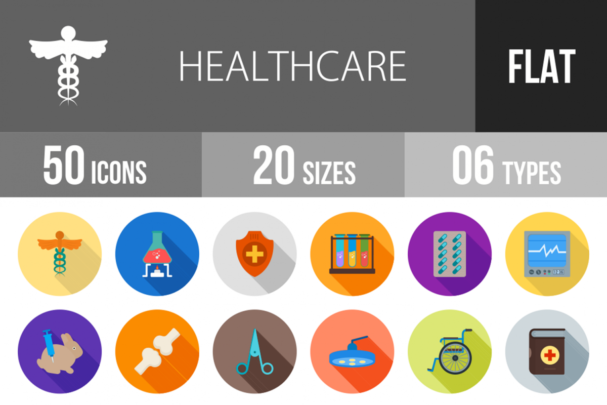 50 Healthcare Flat Long Shadoow Icons example image 1