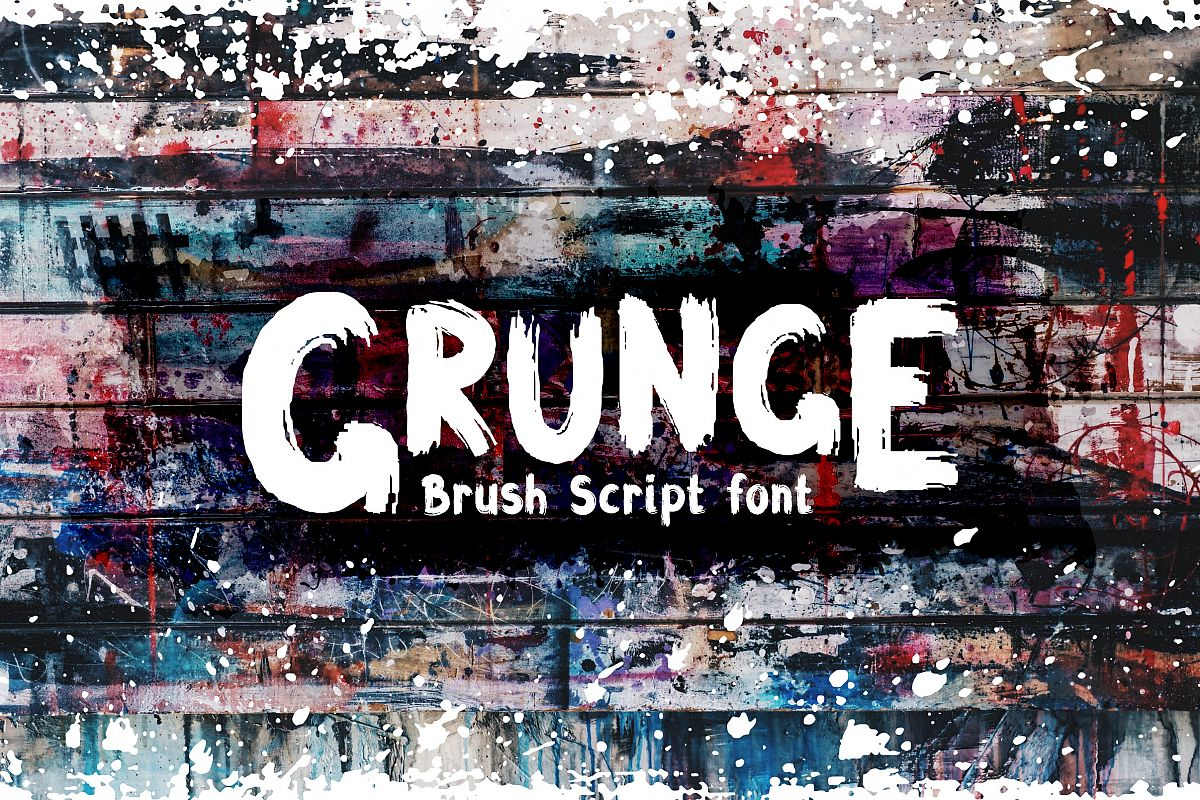 Grunge Latin and Cyrillic Brush Script Font example image 1