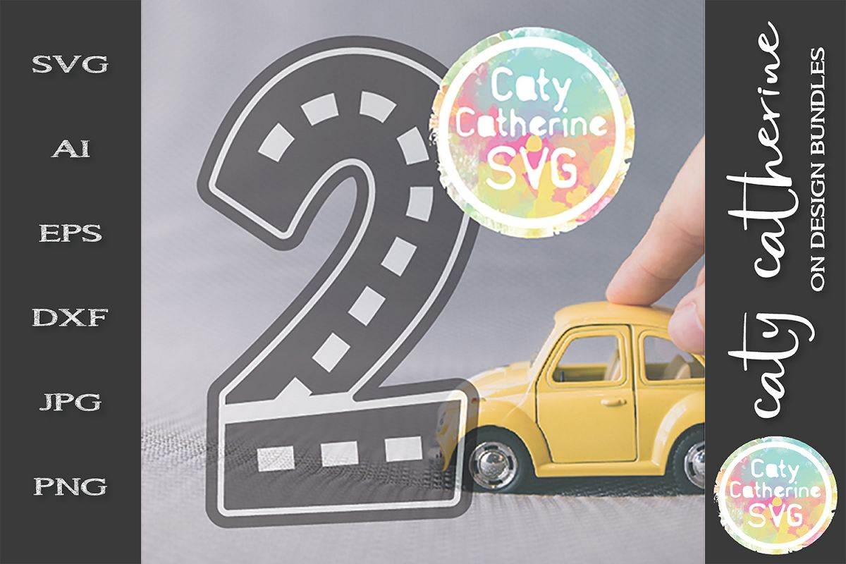 Road Map Kids Birthday Number Two SVG Cut File example image 1