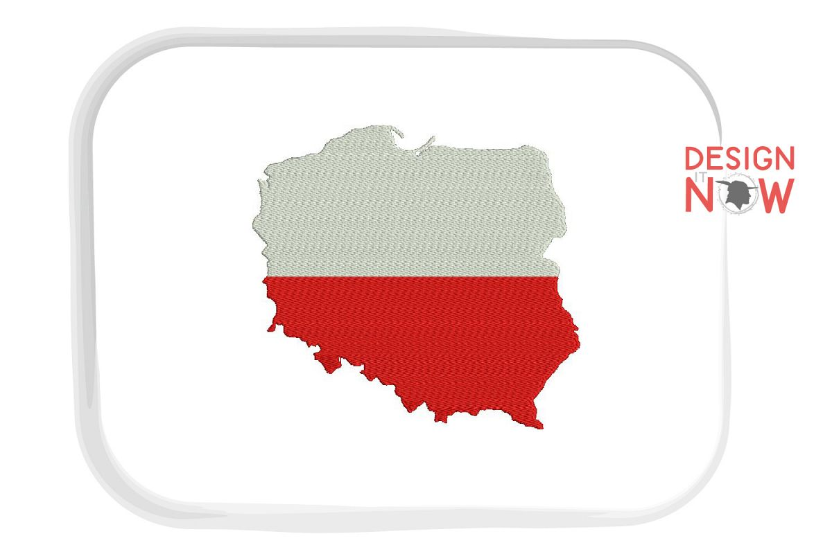 Flag Of Poland Embroidery Design, Map Embroidery example image 1