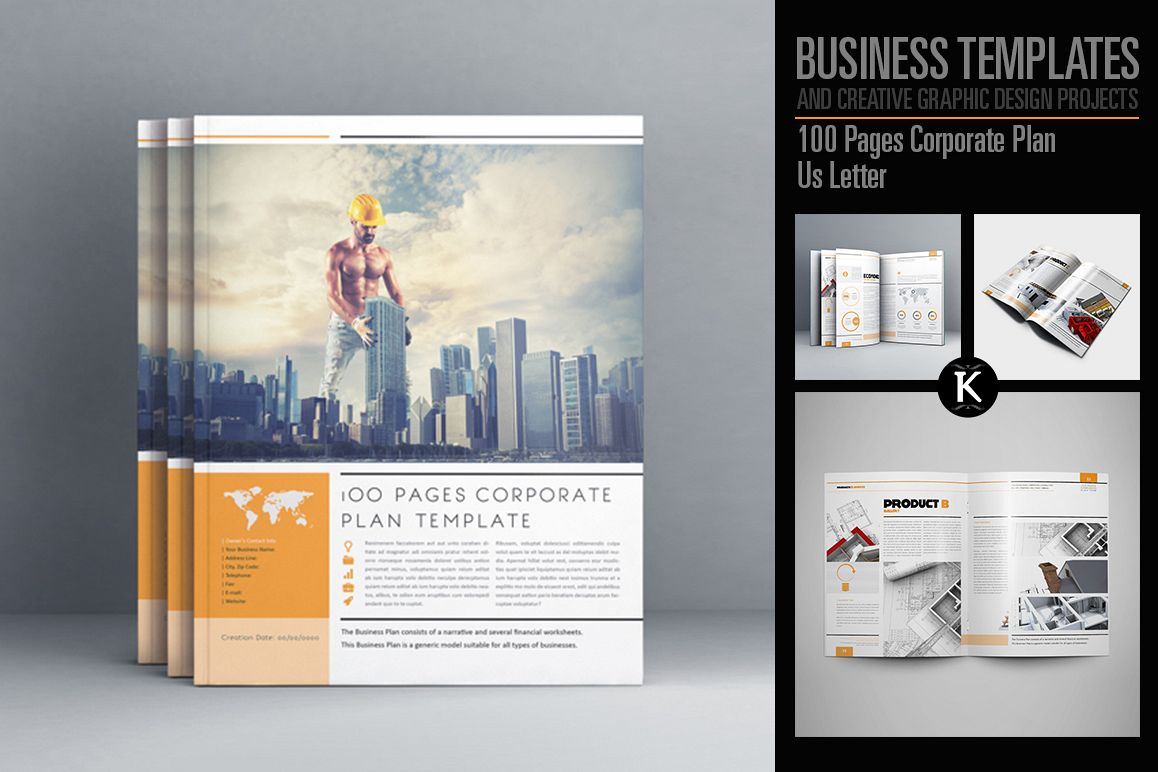 100 Pages Corporate Plan Us Letter example image 1