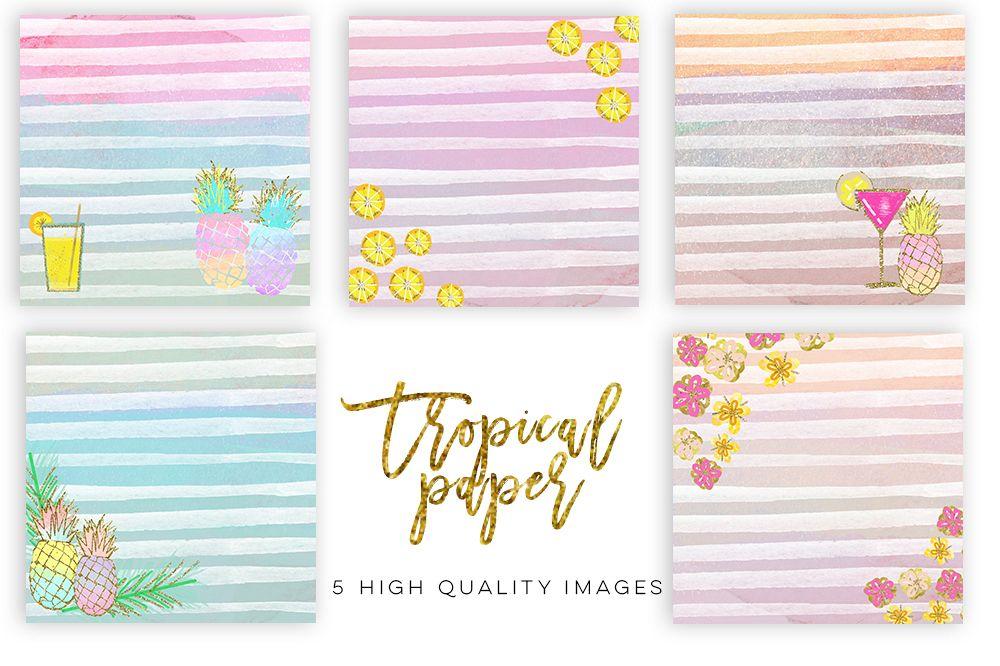 Summer Digital Paper, Tropical paper, Watercolor paper, pineapple paper Digital Papers, Tropical Pineapple, summer pinneaple digital print example image 1