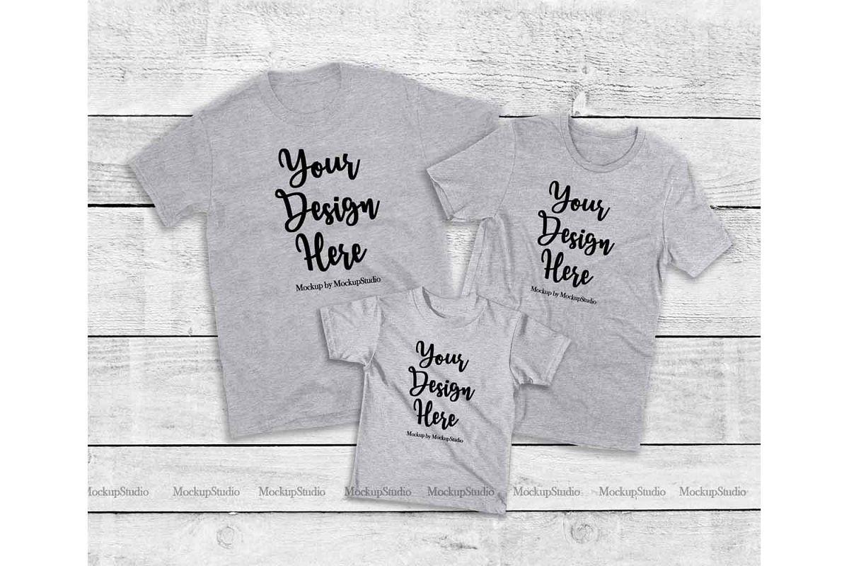 Matching Family Gray T-Shirts Mockup, Parents Kids Shirts example image 1