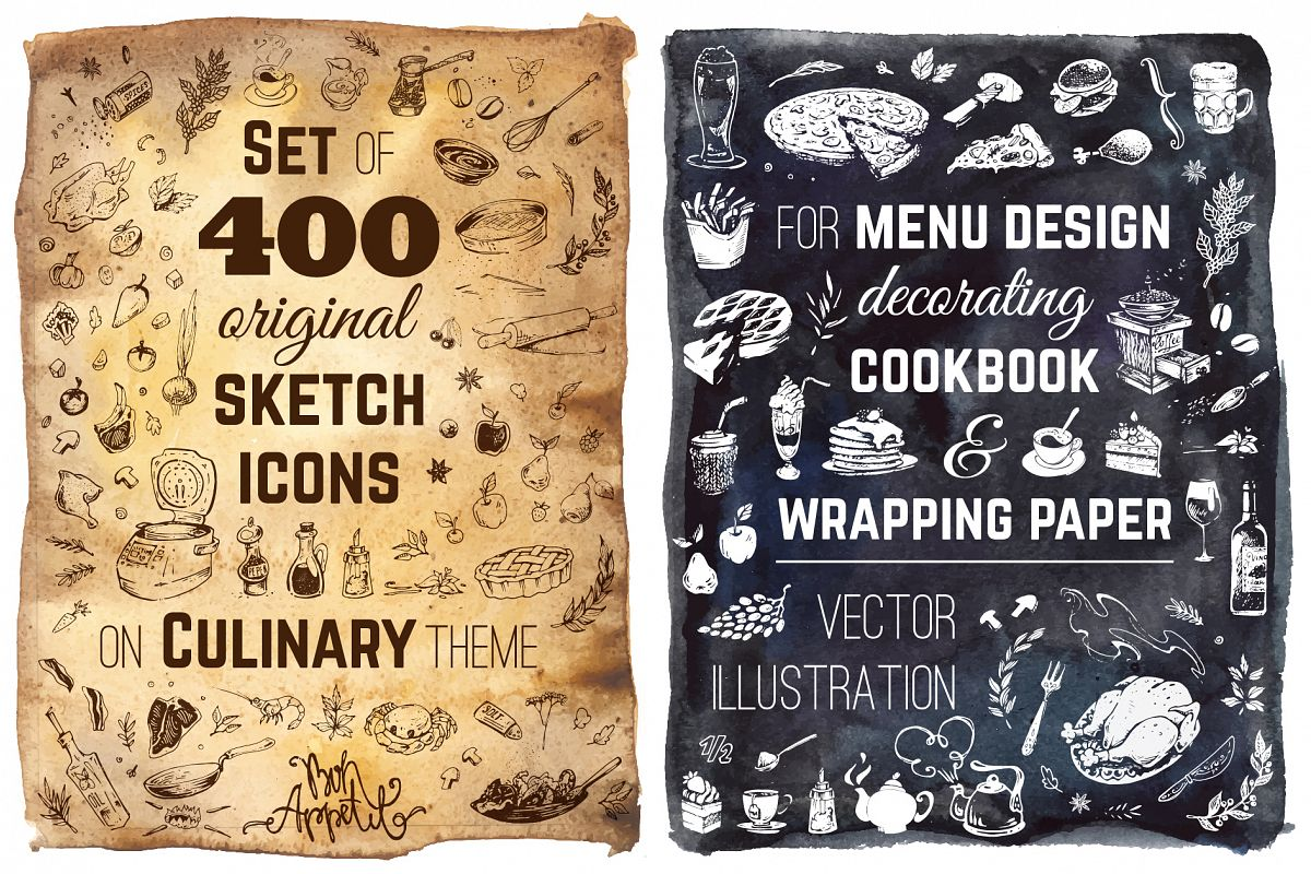 Hand drawn cooking and food icons example image 1